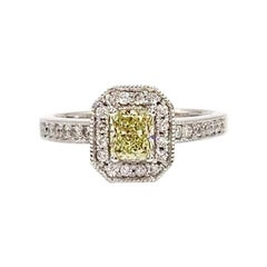 White Gold Light Yellow Radiant Diamond Halo Ring