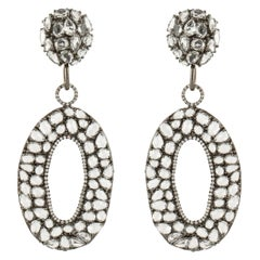 18K Blackened Gold Statement Earrings with White Topaz and Diamonds