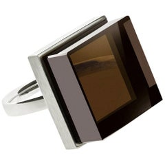 White Gold Men Ink Ring with Smoky Quartz by the Artist