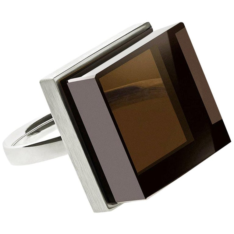 White Gold Men Ink Ring with Smoky Quartz by the Artist For Sale