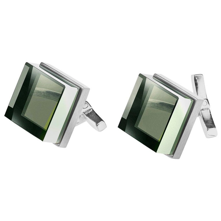 White Gold Men's Art Deco Style Cufflinks by the Artist with Green Amethysts For Sale