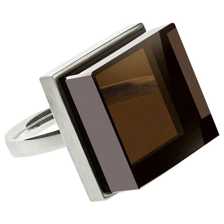 White Gold Men's Ink Ring with Smoky Quartz by the Artist For Sale