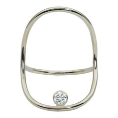 White Gold Minimalist Diamond Statement Ring