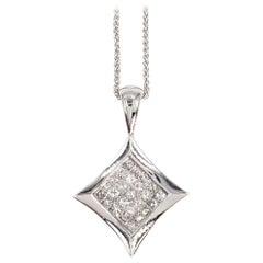 White Gold Modern Square Diamond Pendant