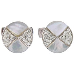 White Gold Mother of Pearl Diamond Cufflinks