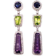 White Gold Multicolored Stone and Diamond Earrings
