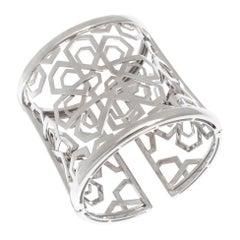 White Gold Musharabieh Cuff Bracelet