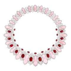 Ananya White Gold Necklace Set with Rubies, Pink Opals and Diamonds