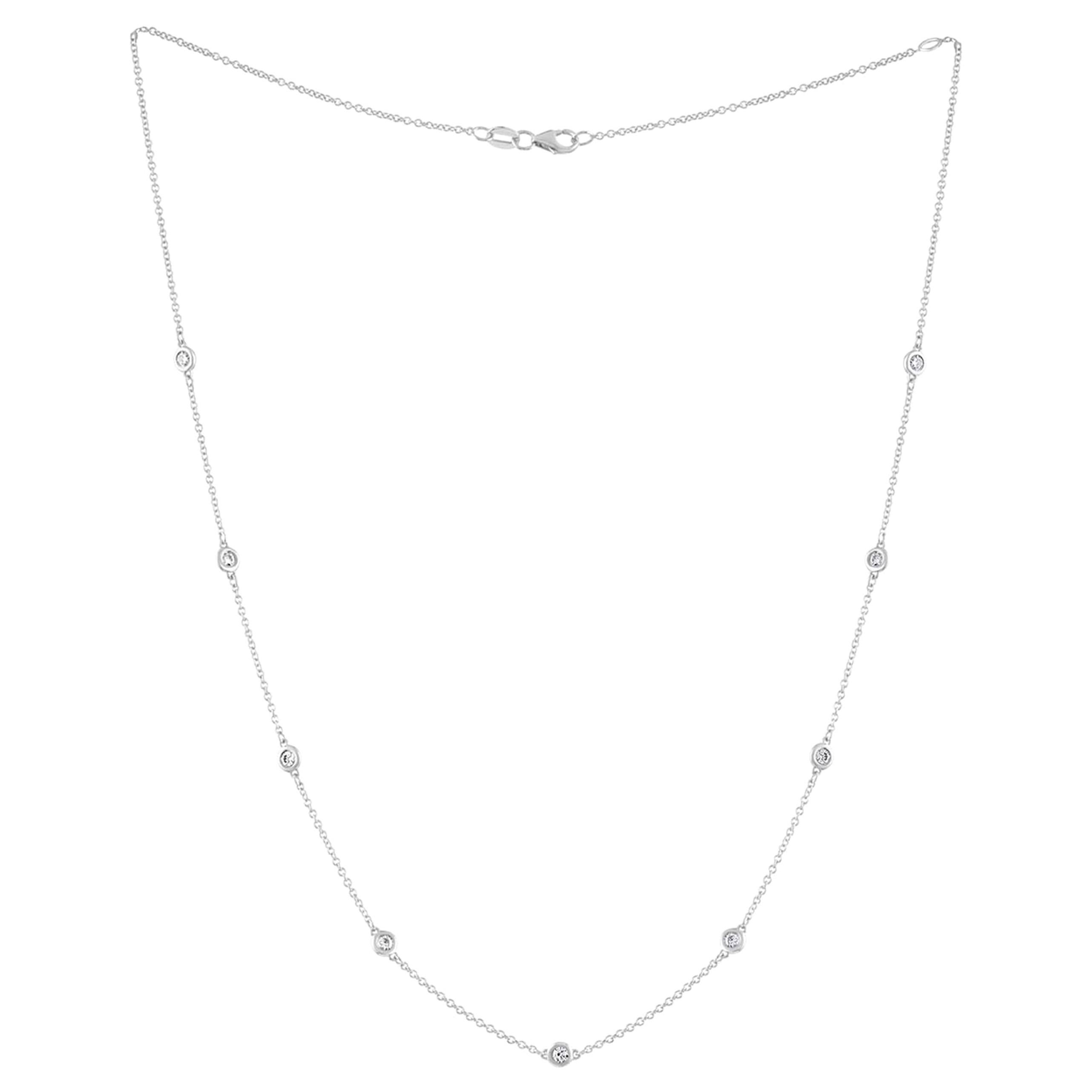 White Gold Necklace with 9 Features Cut Diamonds