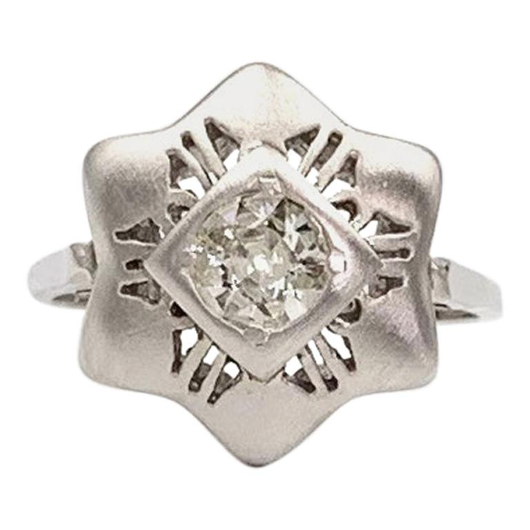 White Gold Old Mine Cut Diamond Star Ring