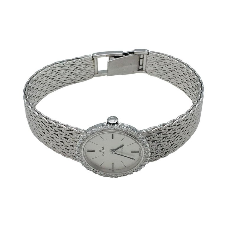A 750/000 white gold jewellery Omega watch,