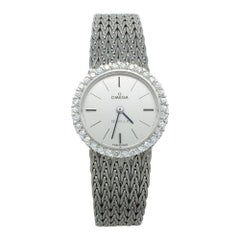 "White Gold Omega ""De Ville"" Diamonds Watch"
