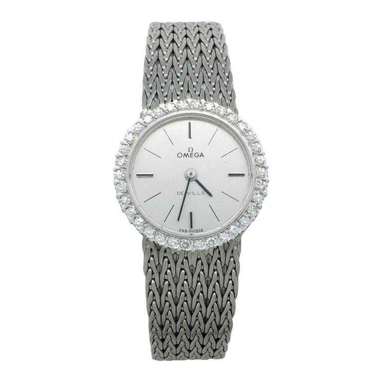 "White Gold Omega ""De Ville"" Diamonds Watch For Sale"
