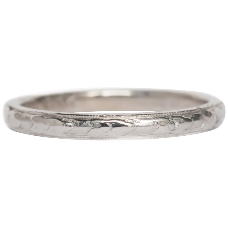 White Gold Orange Blossom Wedding Band For Sale