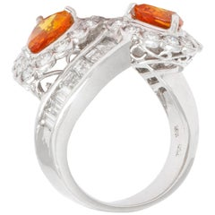 White Gold Orange Sapphire Diamonds Ring