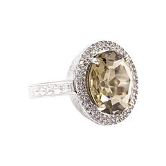 White Gold Oval Bronze Topaz and Diamond Halo Ring