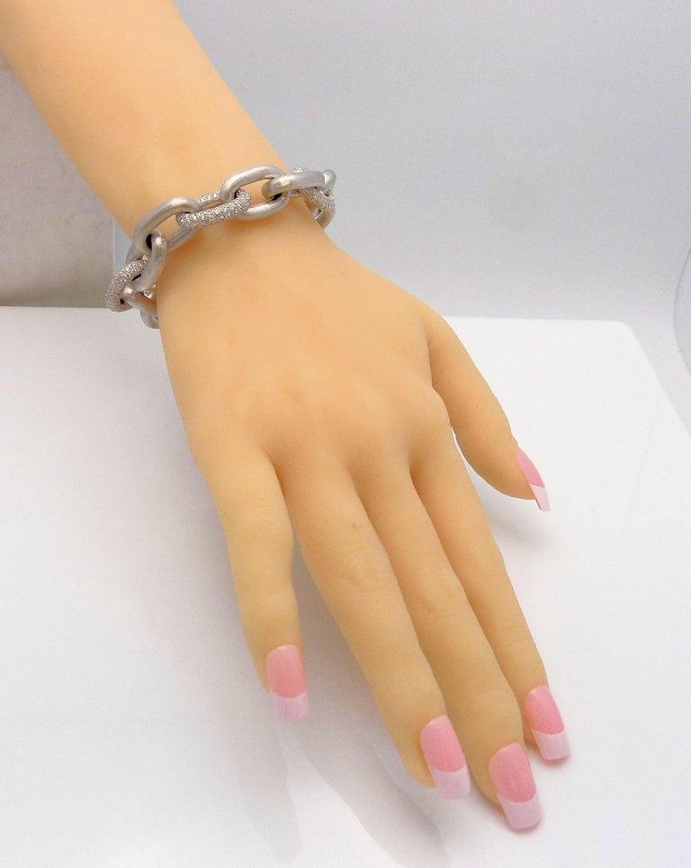 White Gold Oval Link Diamond Pave Bracelet For Sale 1