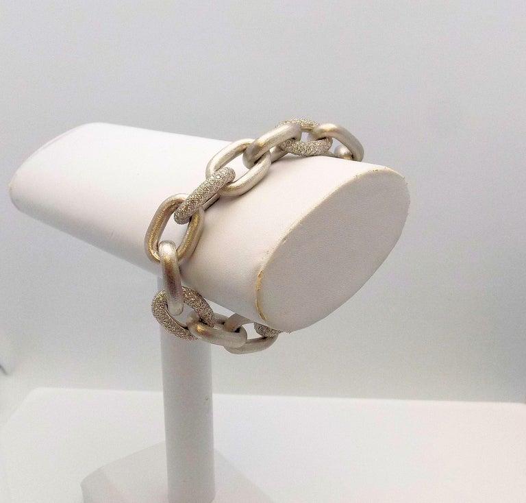 White Gold Oval Link Diamond Pave Bracelet For Sale 2