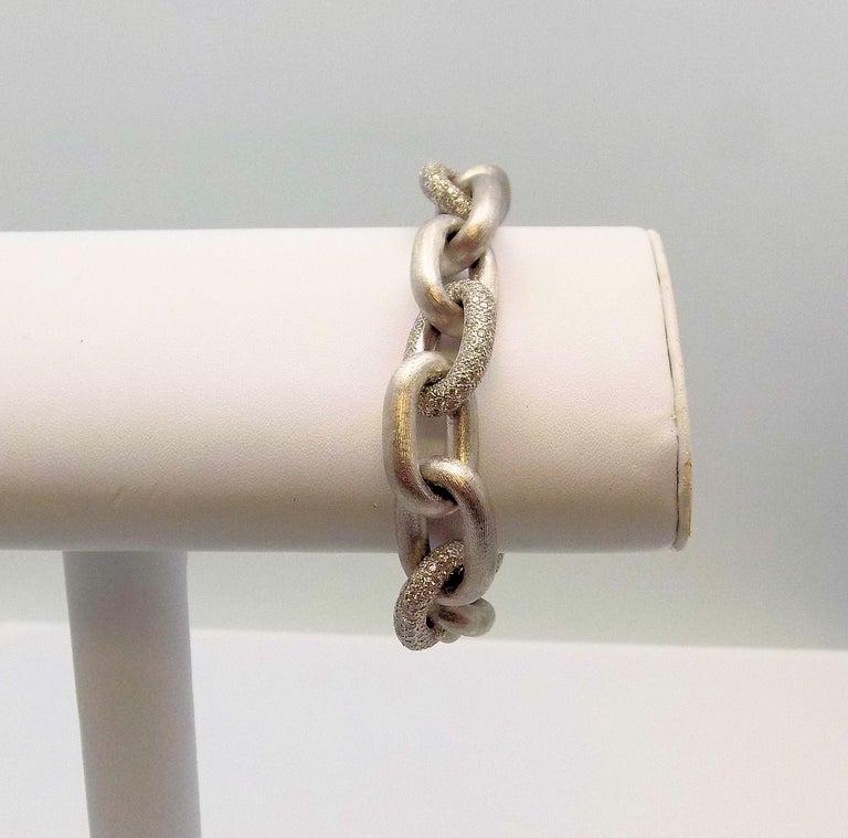 White Gold Oval Link Diamond Pave Bracelet For Sale 3