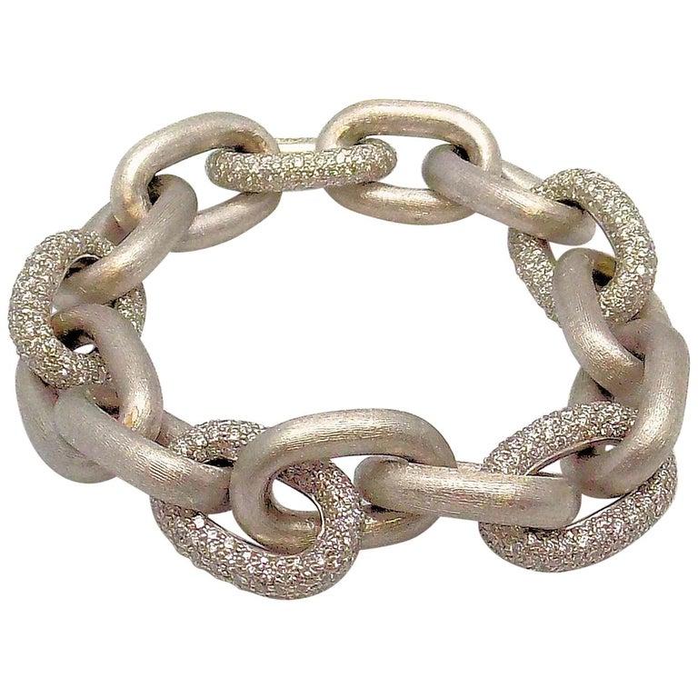 White Gold Oval Link Diamond Pave Bracelet For Sale