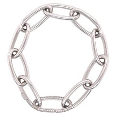 White Gold Oval Paperclip Chain Bracelet with Diamond Clasp