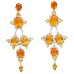 White Gold, Oval Yellow Opal Yellow Sapphire and Diamond Ear Pendant Earrings