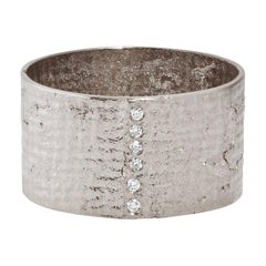 White Gold Paper Cigar Ring with Diamonds by Allison Bryan