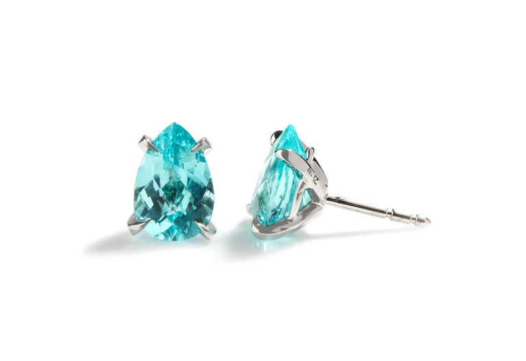 18K White Gold Earrings Paraiba Tourmaline (3.54ct)  Ref: EB06-319 Beautiful, Signature Paraiba Tourmaline stud Earrings *If you require any bespoke changes (different type of metal/gemstones/cut/sizing) or you would like to see the whole collection