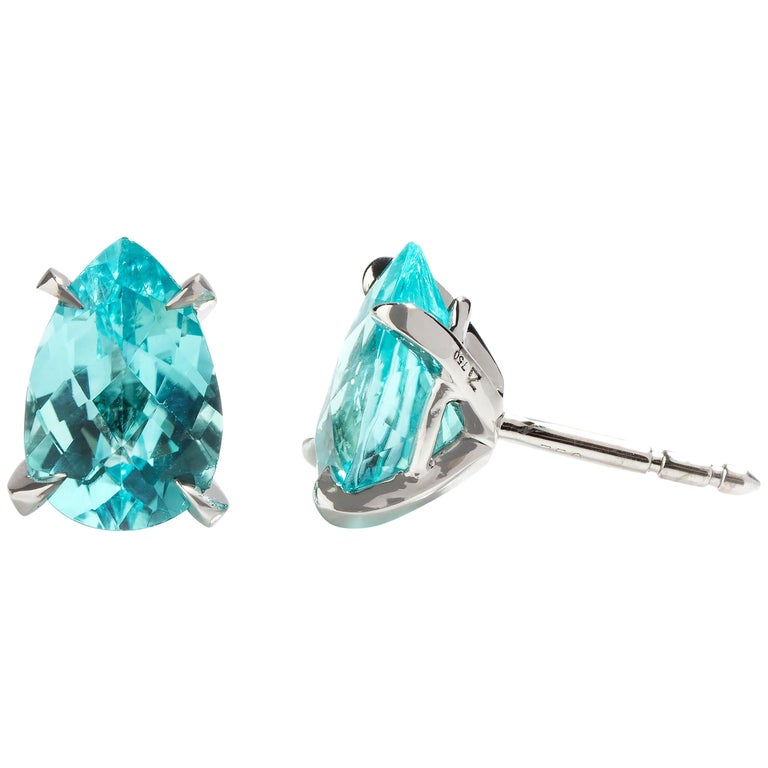 White Gold Paraiba Tourmaline Earrings For Sale