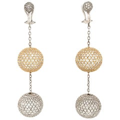 White Gold Pave Diamond Disco Ball Dangle Earrings