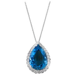 White Gold Pear Cut Blue Topaz Necklace with Diamonds, 11.64 Carat