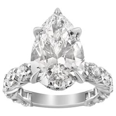 White Gold Pear Cut Diamond Ring with Side Stones, 6.65 Carat