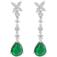 White Gold Pear Cut Emerald and Diamond Earrings, 3.59 Carat