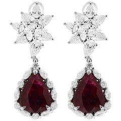 White Gold Pear Cut Mozambique Vivid Red Ruby and Diamond Earrings, 17.22 Carat