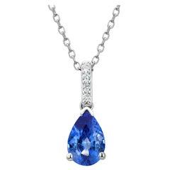 White Gold Pear Shape Blue Sapphire and Diamond Drop Pendant Necklace