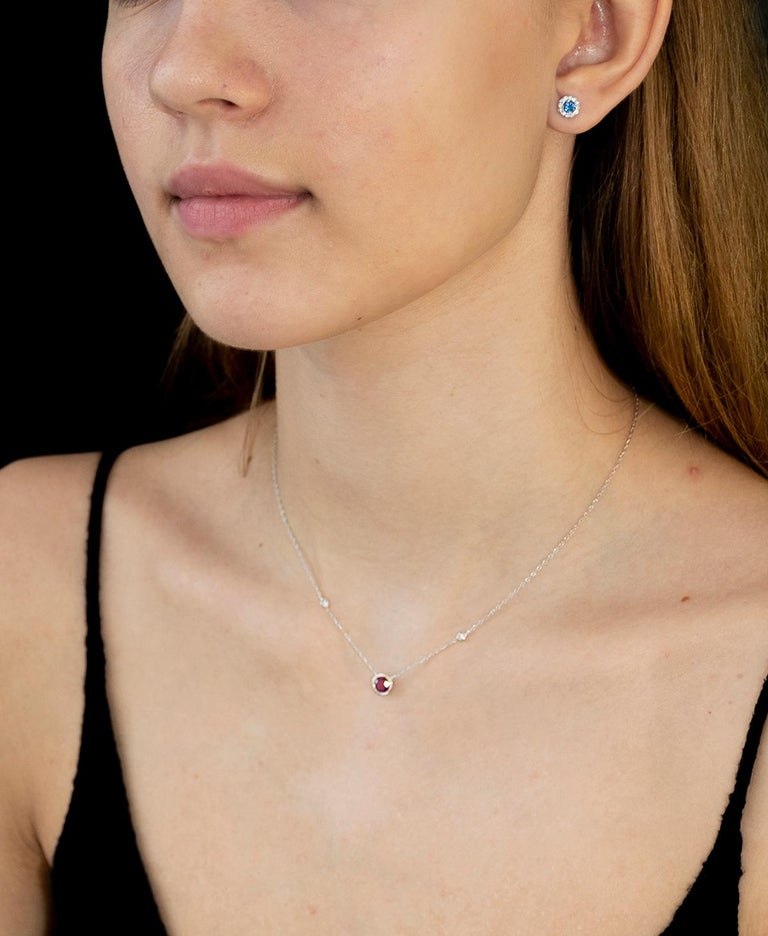 Featuring 14k white gold necklace pendant with bezel-set sideway pear shape ruby Chain 16