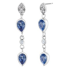 White Gold Pear Shape Sapphire Diamond Drop Earrings