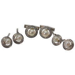 White Gold Pearl Diamond Cuff Link and Stud Set