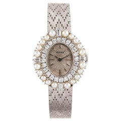 Rolex White Gold Pearl and Diamond with Integral Bracelet