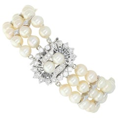 White Gold Pearl & Diamond Vintage Three-Strand Bracelet, 14 Karat Rnd .90 Carat