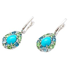 18 ct White Gold Pendant Earrings with Tsavorite, Turquoise, Topaz and Diamonds
