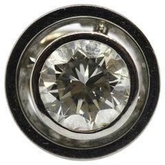 White Gold Pendant, Enhancer, Set with 1.1 Carat Diamond Solitaire