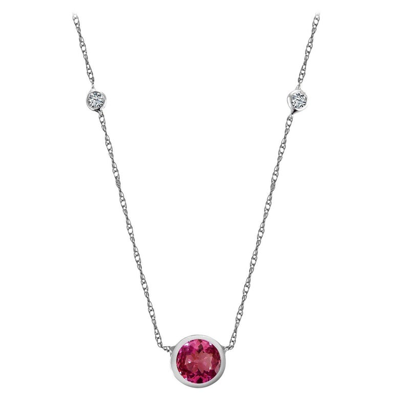 White Gold Pendant Necklace Round Ruby Center and Two Bezel-Set Diamonds For Sale