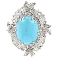 White Gold Persian Turquoise and Diamond Wreath Halo Brooch, 14 Karat 2.00 Carat