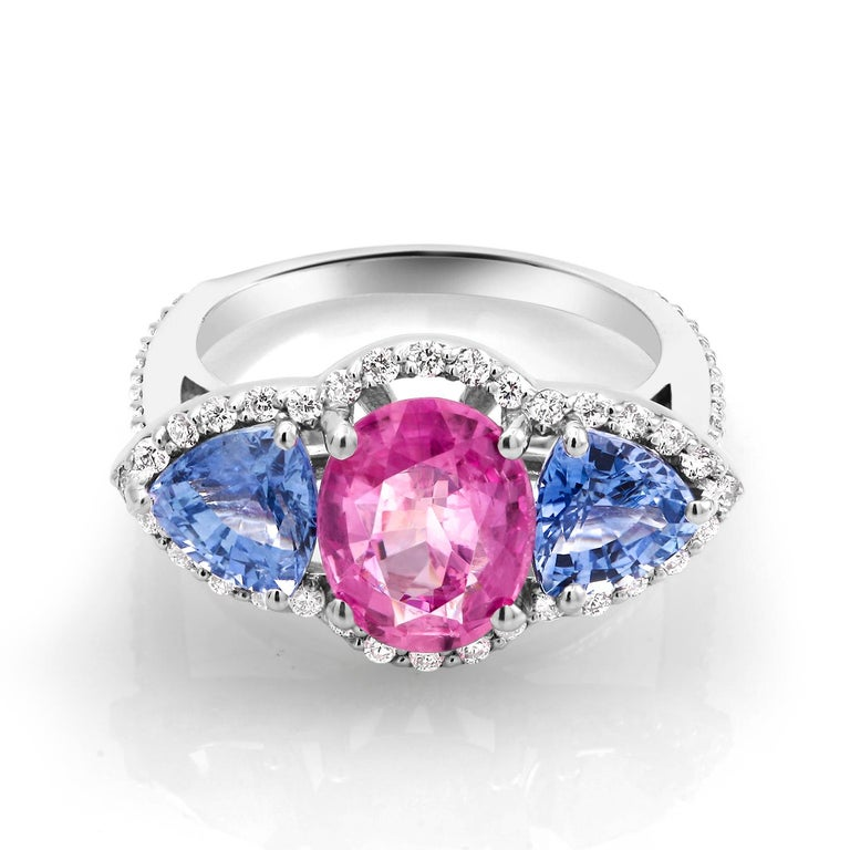 Oval Cut White Gold Pink and Blue Sapphire Diamond Cocktail Ring Weighing 6.05 Carat For Sale