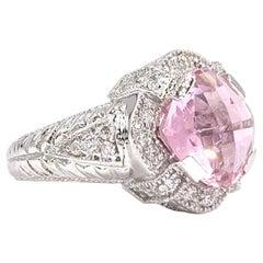 White Gold Pink Quartz and Diamond Ring