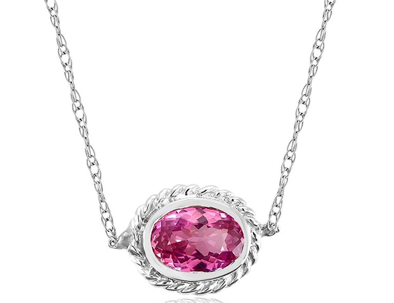 White Gold Pink Sapphire and Diamond Pendant Necklace Weighing 0.73 Carat For Sale 1