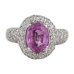 White Gold Pink Sapphire Diamond Ring