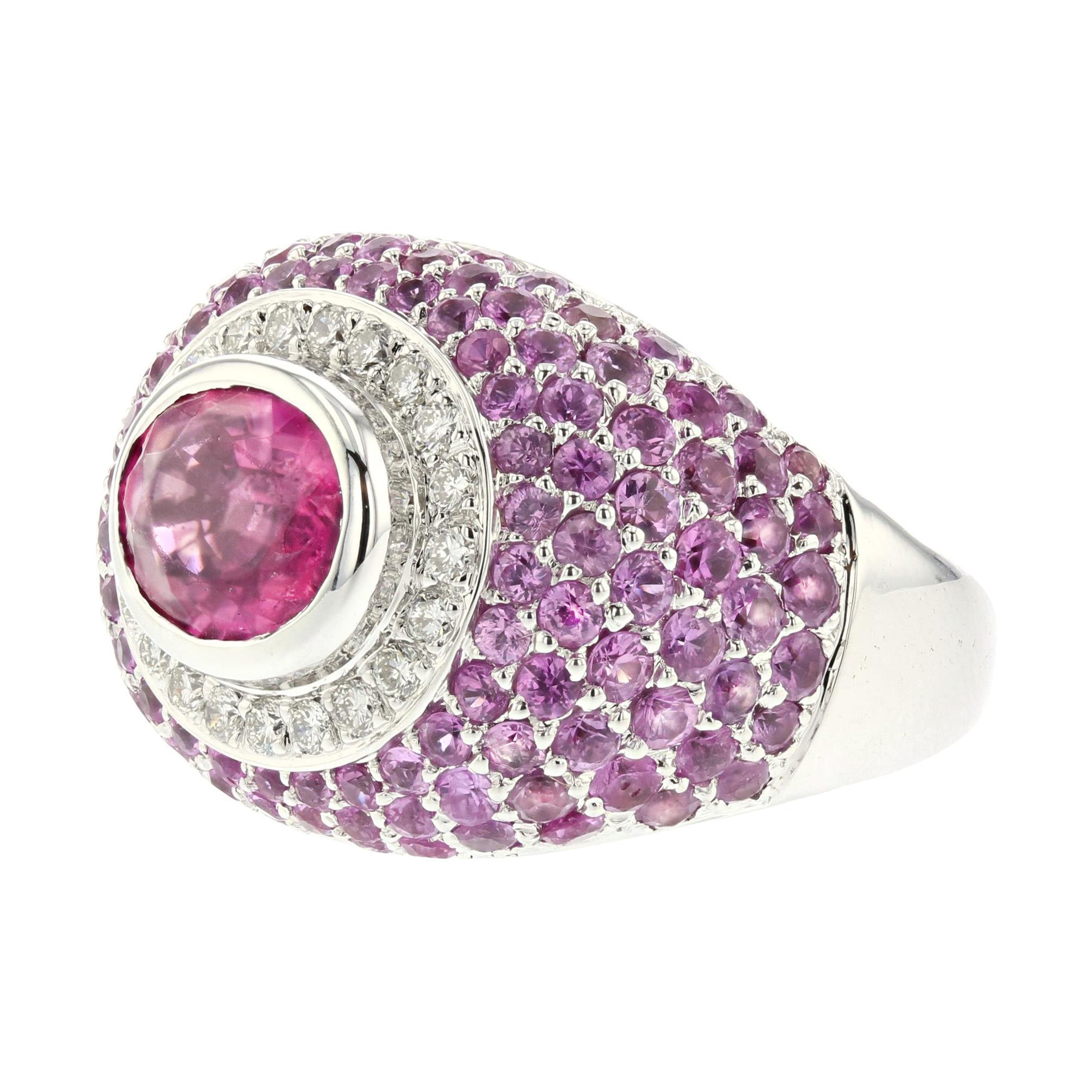 18K White Gold Pink Tourmaline Ring with Diamonds
