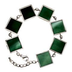 White Gold-Plated Art Deco Style Bracelet with Dark Green Quartzes